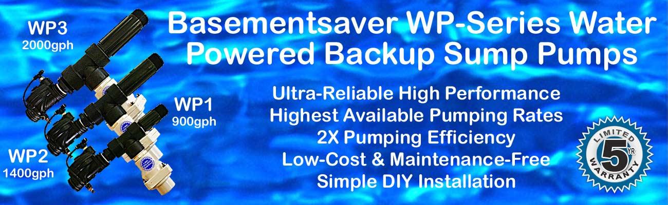 Basementsaver WP-Series Water Powered Backup Sump Pumps