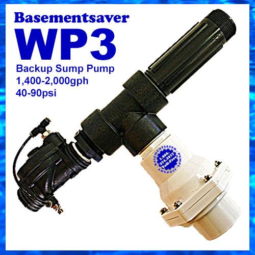 Basementsaver WP3 Water Powered Backup Sump Pump